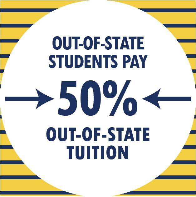 out of state students pay 50% of out of state tuition