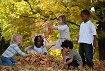 Children playing in the leaves