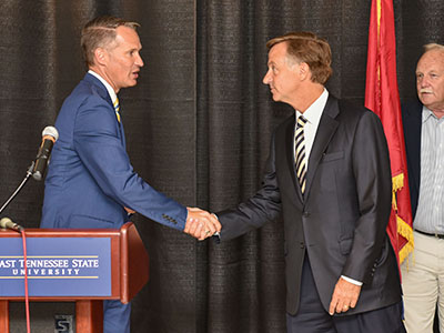 President Brian Noland welcomes Governor Bill Haslam to ETSU for the FOCUS Bill signing on June 13, 2016.