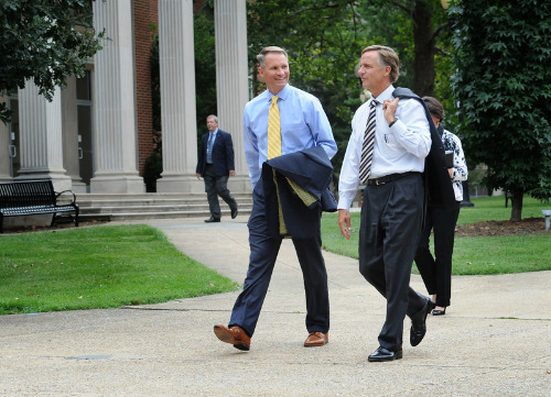 Governor Bill Haslam walks across campus with President Noland