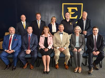 Members of the Tennessee Northeast Delegation to the 2018 General Assembly pose with ETSU leadership in a group photograph