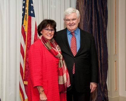 ETSU Associate Vice President for Community and Government Relations, Bridget Baird, poses with former Speaker of the U.S. House, Newt Gingrich on March 31, 2016